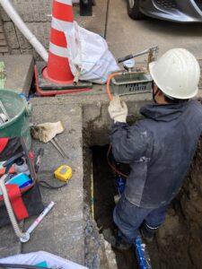 越谷市内で水道管の耐震化工事を行いました